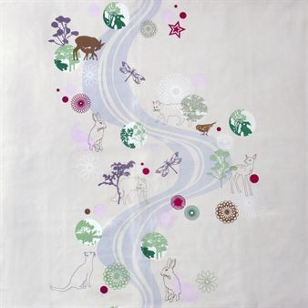 Stream is a beautiful oilcloth designed by Susanne Schjerning. The design is modern with beautiful animals and lovely nature that is perfect to have out on the patio table.