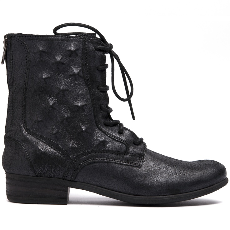 KADI- Featuring a mid calf height, 3cm heel, funtional laces and back zip. Internal studded detail on side of boot and distressed leather.