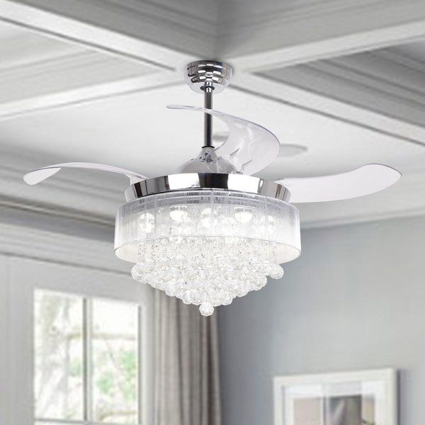 46 Broxburne 4 Blade Led Ceiling Fan With Pull Chain And Light Kit Included Chandelier Fan Led Ceiling Fan Ceiling Fan Chandelier