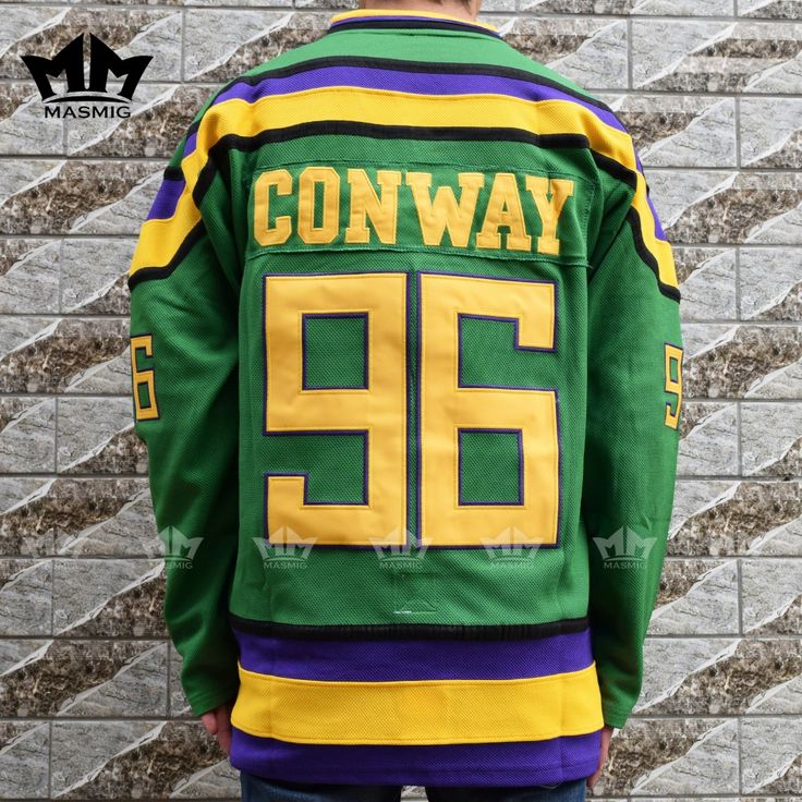 MM MASMIG Mighty Ducks #96 CHARLIE CONWAY Movie Hockey Jersey Green