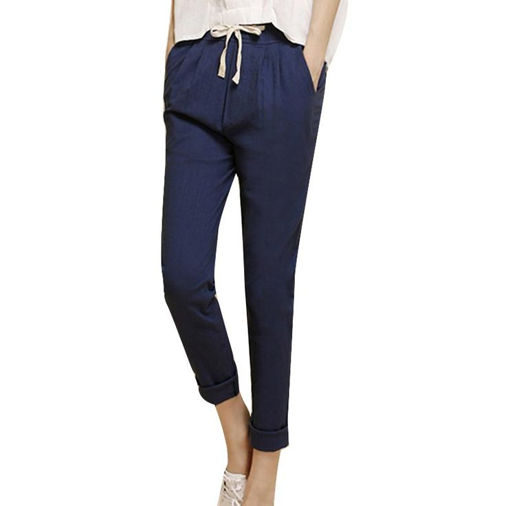 2017 Summer Harem Pants Women High Elastic Waist Loose Cotton Linen Solid Nine Pants Plus Size Pockets Casual All-match Trousers