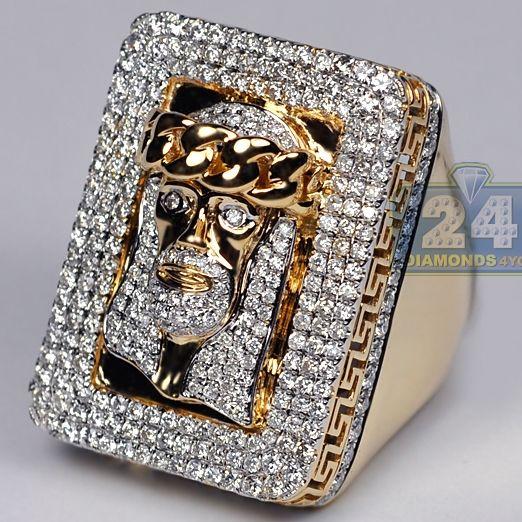 Mens Unique Diamond Jesus Christ Ring 14K Yellow Gold 4.14 ct #religiousjewelry #christianjewelry #diamondring #mensring #jesusring