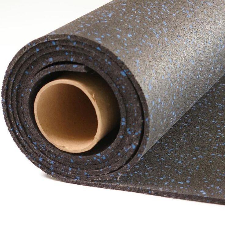 NuTek Rolled Rubber 48in x 120in Black with Blue Flecks