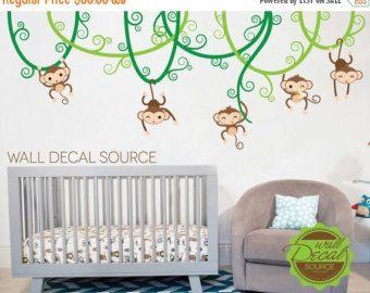 Affen auf Reben Kinderzimmer Wand Aufkleber von WallDecalSource