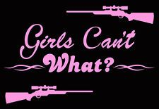 Womens deer hunting decal,Girls can't what?,Rifle,huntress,Pink,buck hunter