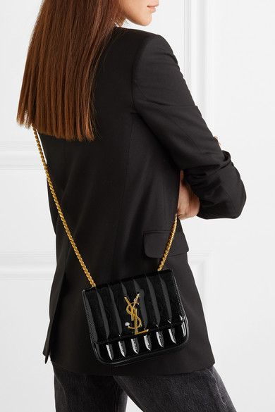 f303c1665c Saint Laurent | Vicky small quilted patent-leather shoulder bag |  NET-A-PORTER.COM