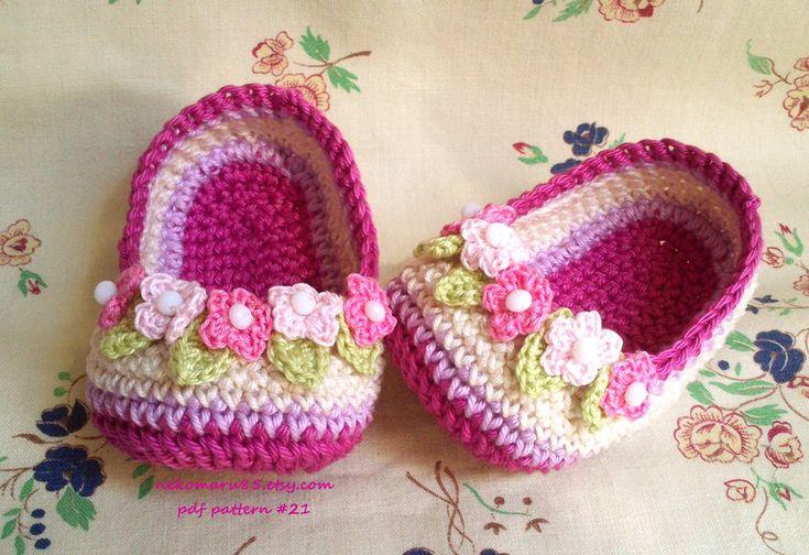 Slippers Crochet with Wreath for Baby by Nekomaru85.deviantart.com on @deviantART