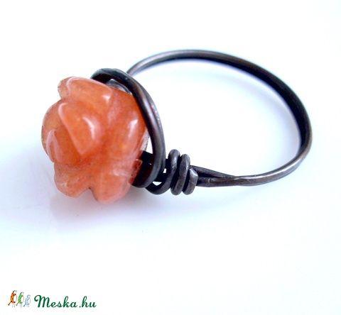 Narancs aventurin gyűrű vörösrézből, Ékszer, óra, Gyűrű, Meska