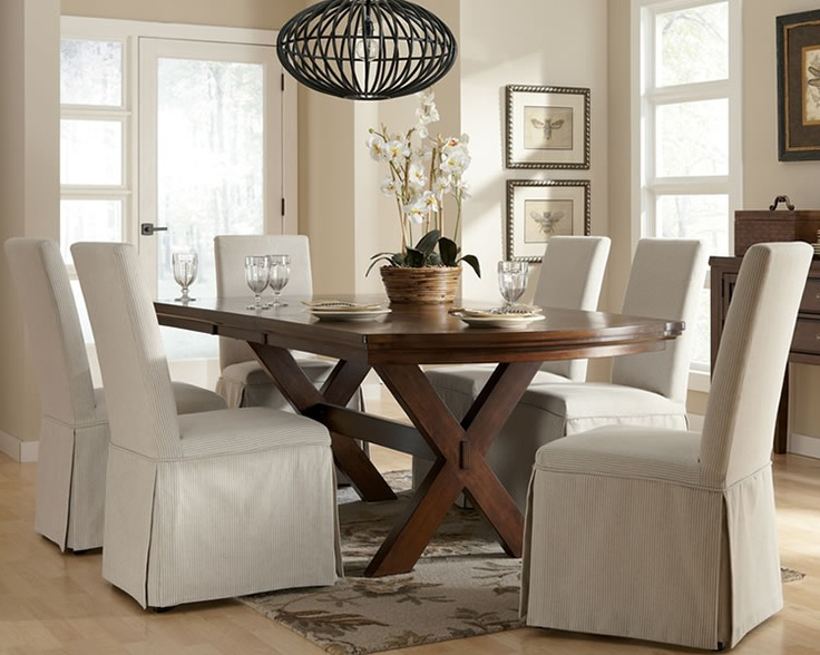 Rustic Dining Set With Trestle Base Extension Table