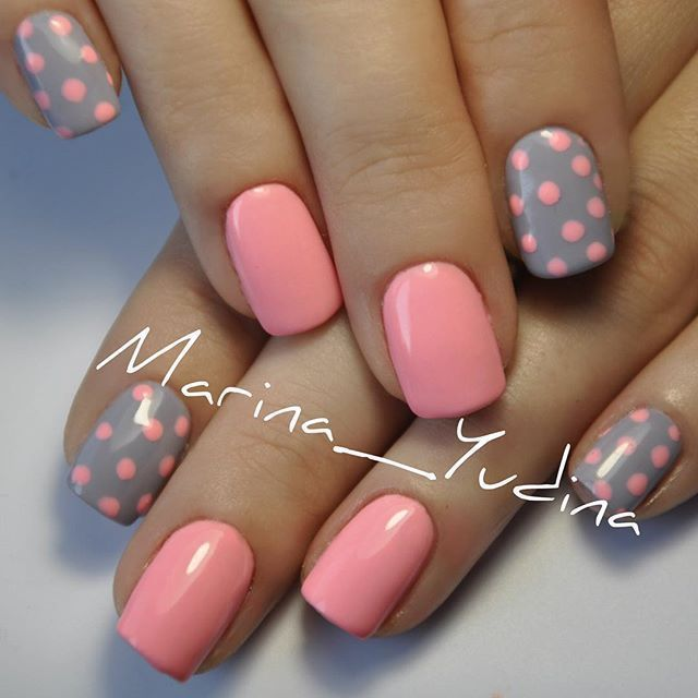 Cute polka dots :) pink and gray nails Nail Design, Nail Art, Nail Salon, Irvine, Newport Beach
