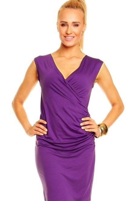 a76b2ee6f670 Dámské šaty ADELA falešně zavinovací na boku řasené fialové