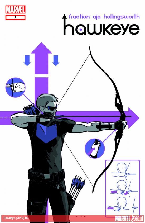 The cover to Hawkeye #2, drawn by David Aja.