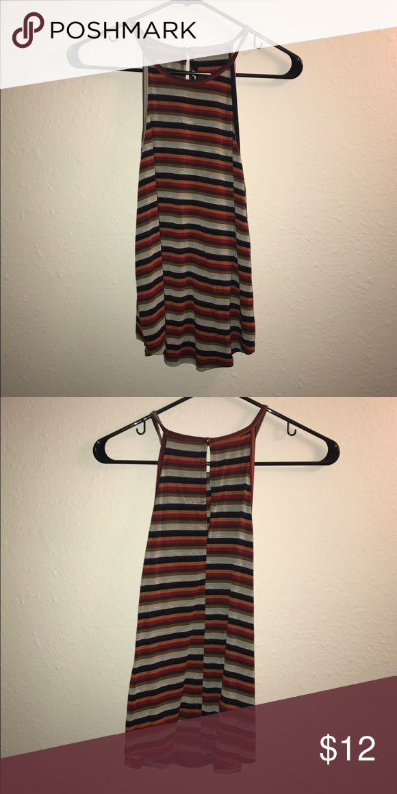 Striped Tank with Keyhole Back multicolored striped tank from tillys! has a cute keyhole back Tilly's Tops Tank Tops