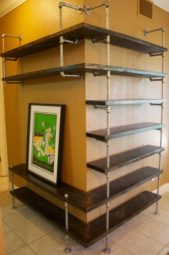 Industrial Pipe Shelving Entertainment Unit- Entertaiment center,Industrial Furniture,Bookshelf, Bookcase shelves w/ optional reclaimed wood