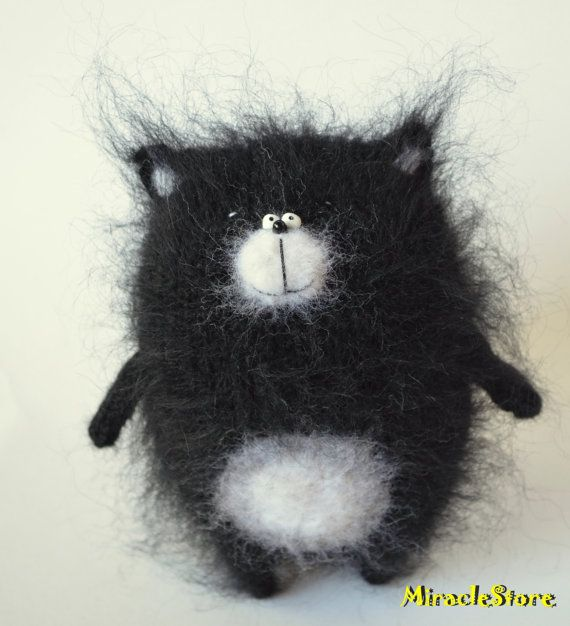Black Knitted Cat stuffed cat softie cat hand knit от MiracleStore