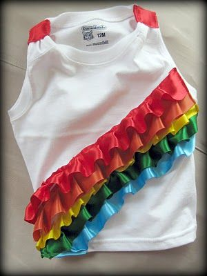 rainbow party . party girl?: Shirts Ideas, Birthday Parties, Girls Shirts, Ribbons Shirts, Ruffles Ribbons, Rainbows Parties, Parties Ideas, Shirts Tutorials, Rainbows Ruffles