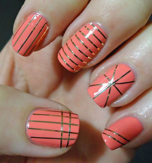 This weeks nail art - Peach and Gold manicure with Butter London Trout Pout nail polish - Pampered & Polished NZ