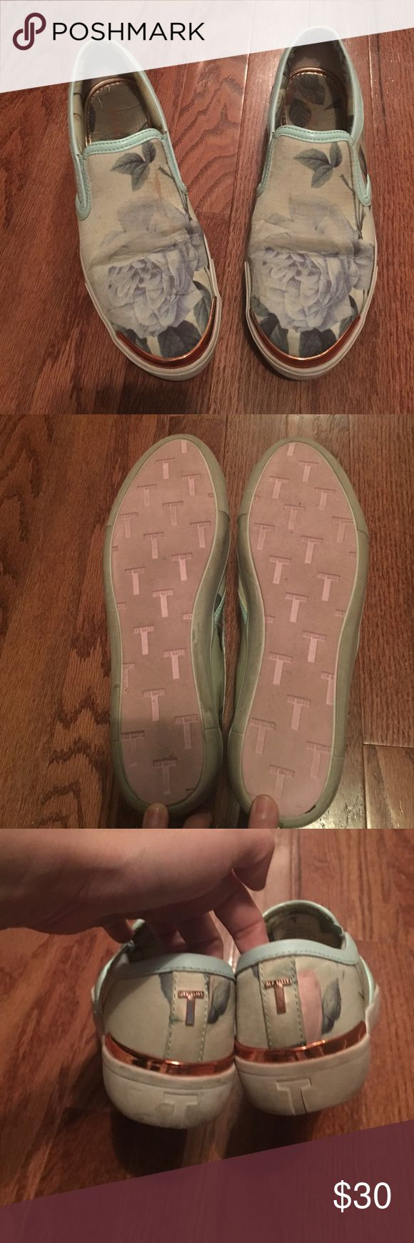 Ted baker used sneakers with copper detail size 7 Ted baker used sneakers with copper detail size 7. Tag says EU 38 US size 7 but I am usually a size 7.5 and these fit me Ted Baker London Shoes