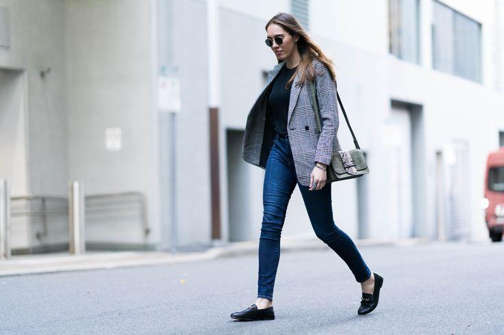 H&M Tweed Blazer & Mimco Carnaby Hip Bag