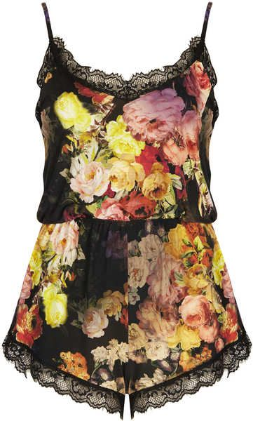 Topshop Multicolor Lace Trim Playsuit By Oh My Love
