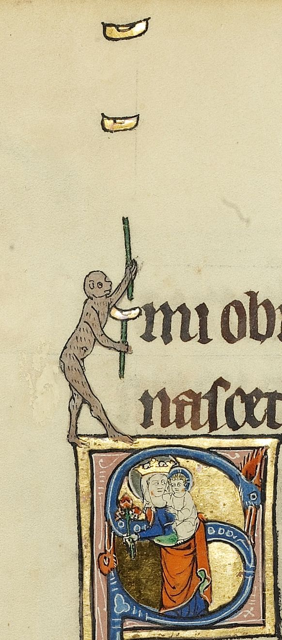 Monkey juggling atop initial S with Virgin and Child, Ludwig IX 3, c. 1300, fol. 52v. J. Paul Getty Museum
