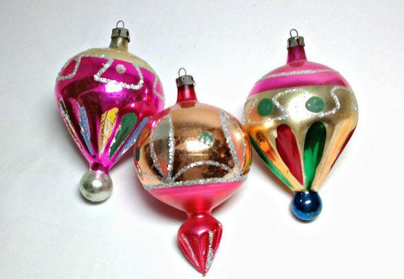 3 unique Vintage ATOMIQUE Parachute Mid-Century Style grand Noël Made in POLOGNE Mica scintillant décoration ballon de verre de mercure