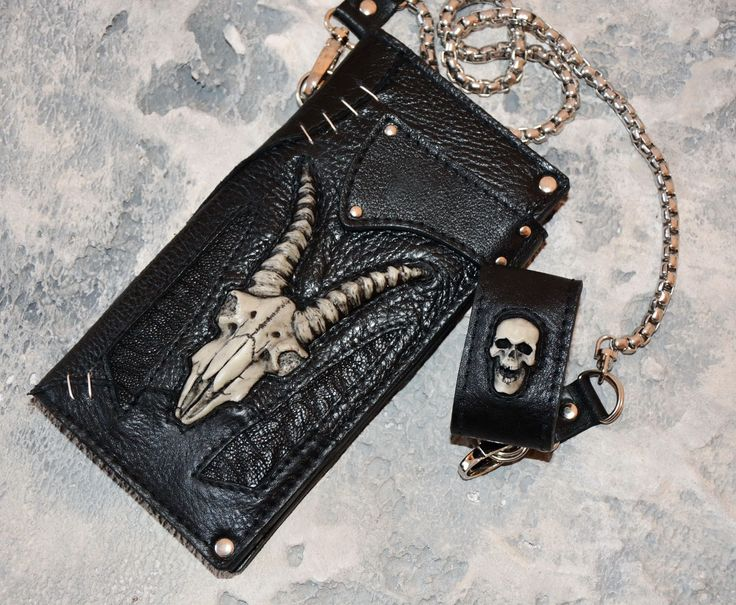 Mens gift Leather wallet men Biker wallet with chain Goat