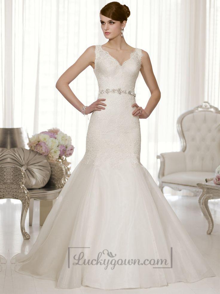 Straps Lace V-neck and V-back Trumpet Wedding Dresses