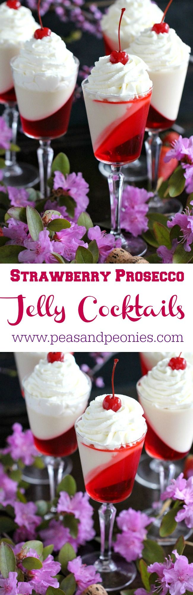 Strawberry Prosecco Jelly Cocktails are a combination of sweet and fragrant strawberry infused Prosecco jelly and creamy vanilla condensed milk jelly.