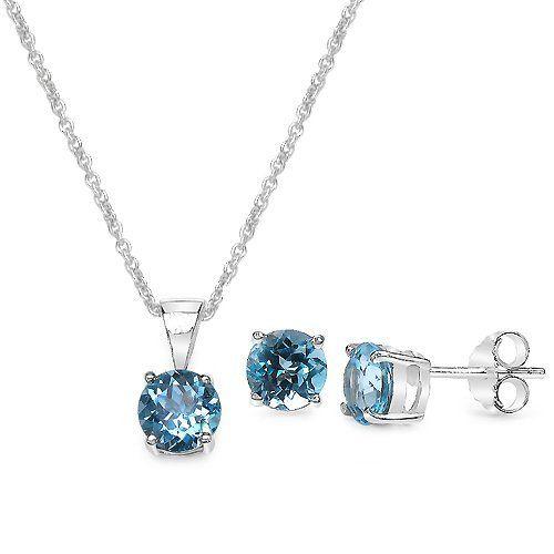 "3.30 Carat Blue Topaz Round Shape .925 Sterling Silver Earring & Pendant Set Silvancé. Save 75 Off!. $38.90. .925 Sterling Silver with Rhodium. with 18"" Sterling Silver Chain. 100% Natural Gemstone"