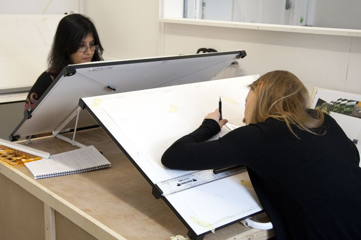 Students At Their Drawing Boards During Introduction To Interior