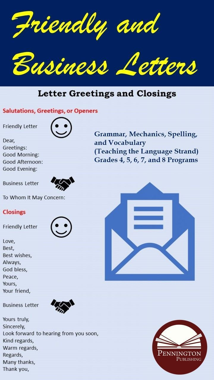 friendly and business letter openings and closings