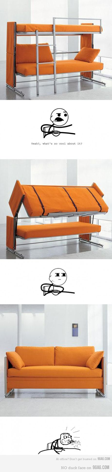 Awesome Bunk bed and sofa+ Cereal guy