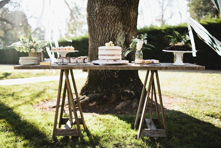Simple rustic dessert table