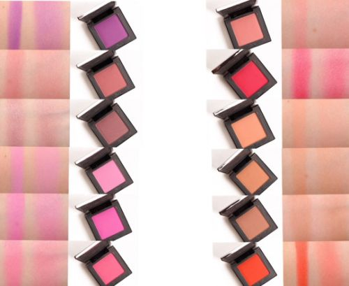 Urban Decay Afterglow 8-Hour Blush. Swatches: Left column up to down: Bittersweet, Fetish, Rapture, Obsessed, Quickie, Crush. Right column up to down: Score, Quiver, Indecent,  Kinky, Vedio, Bang.
