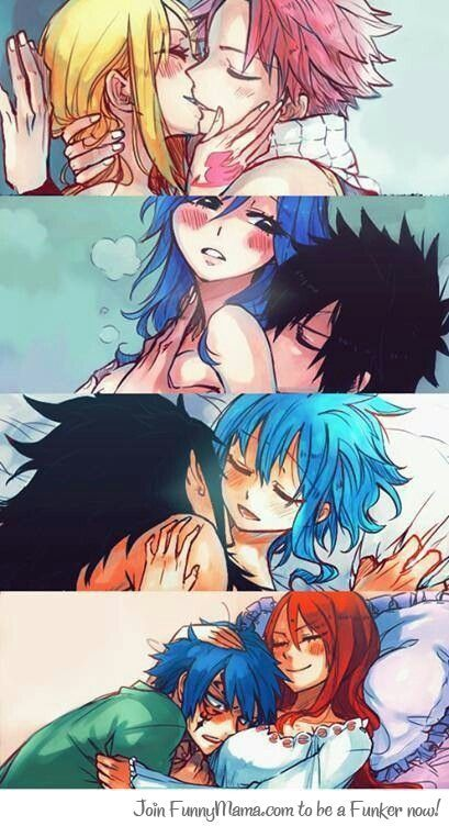 Fairy tail couples: NaLu, Gruvia, GaLe and JErza