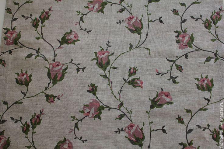"""Купить Льняные салфетки """"Розы"""" - серый, розовый, розы, салфетка, декоративная салфетка, листья"""