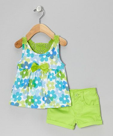 Take a look at this Green Floral Tank & Shorts - Infant by Young Hearts on #zulily today!
