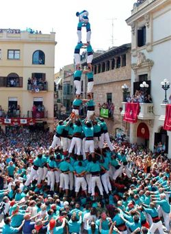 Human Towers in Vilafranca del Penedès (Barcelona) - Summer festival at the end of august.
