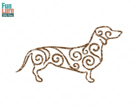 Dachshund Zentangle Dog Intricate Swirl   svg png dxf eps