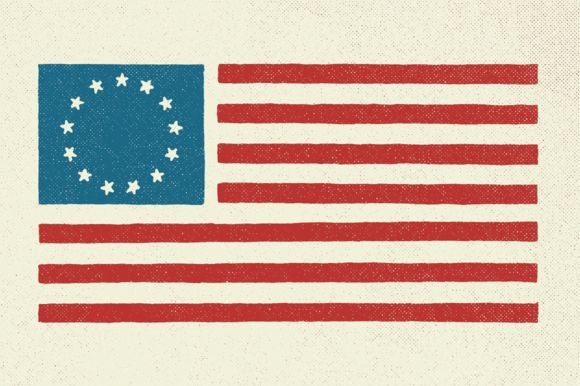 Check out 5 Hand Illustrated US Flags by GhostlyPixels on Creative Market