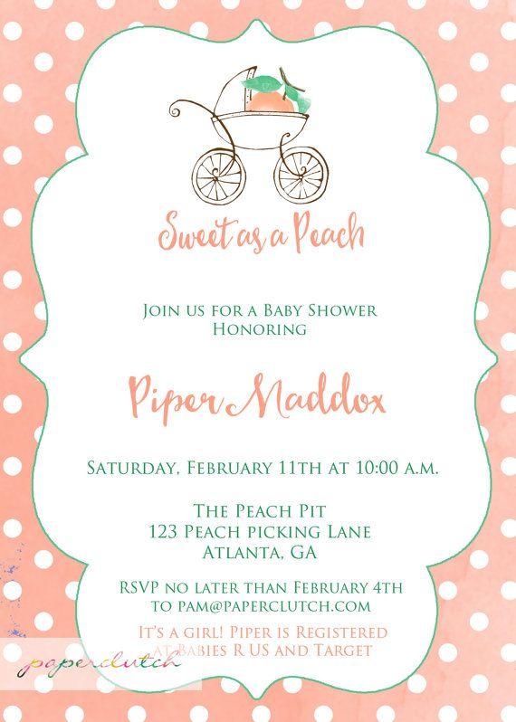Sweet As A Peach Baby Shower Invitation   Georgia Peach Polka Dot Shower    Girl Shower Little Peach On The Way   Peaches Baby   Printable