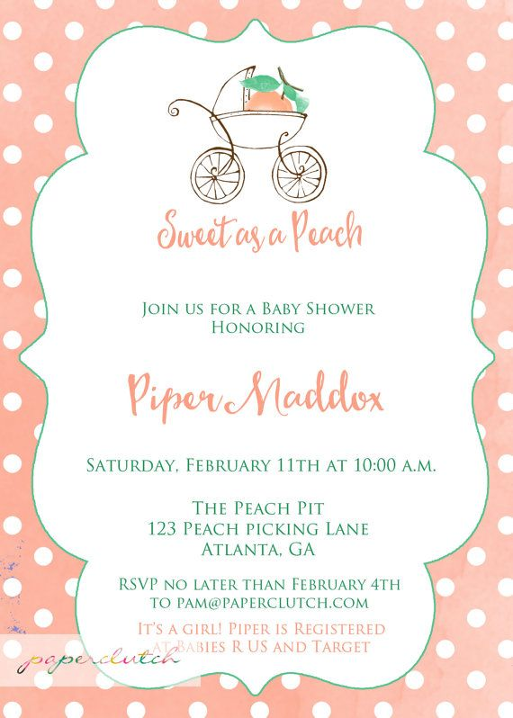 Sweet as a Peach Baby Shower Invitation by PaperclutchShop