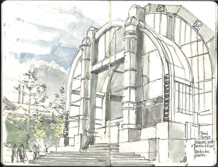 Dessin à l'aquarelle de Paris: Le jardin des plantes. René-Félix Berger architecte,  Grande serre, jardin d'hiver.