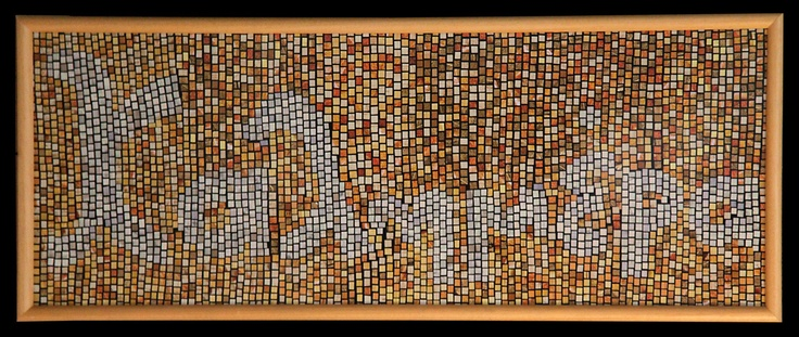 Good morning in Greek, paper mosaic collage from magazine pages, 90 X 40 cm