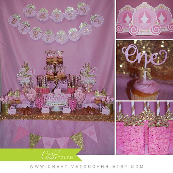 Centros de mesa de princesa rosa y oro princesa de Disney