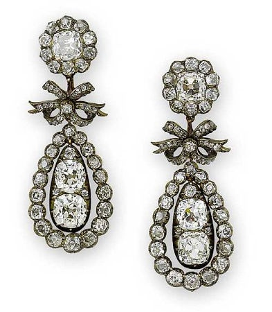 Diamond pendeloque earrings, circa 1810... I need to marry whoever inherited these! hee hee