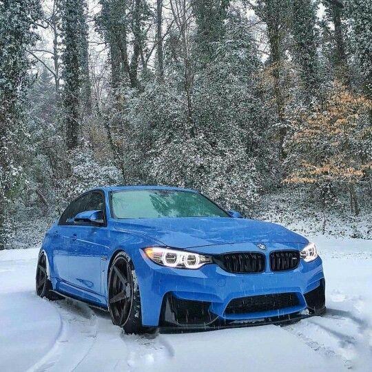 BMW F80 M3 blue winter