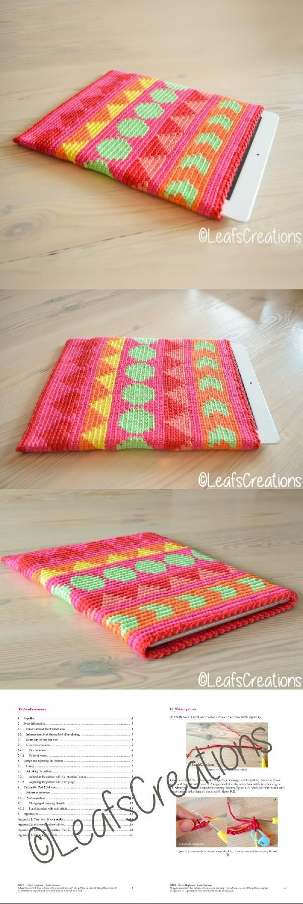 Tapestry crochet pattern iPad tablet case/sleeve crochet pattern