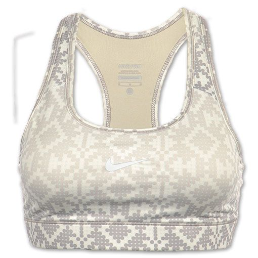 Nike Pro Compression Printed Women's Sports Bra | FinishLine.com | White/Silver